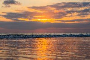Sunset on the Kuta beach with