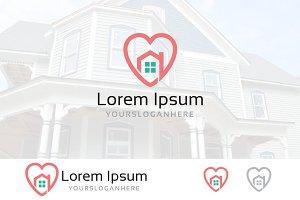 Heart Love House Real Estate Logo