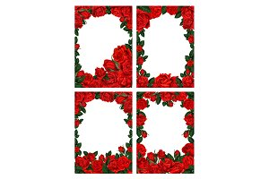 Flower frame borders with red roses