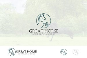 Prancing Horse Elegant Line Logo