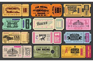 Car and horse racing retro tickets