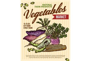 Vegetable market poster with veggies
