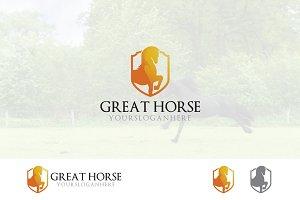 Strong Golden Horse in Shield Logo