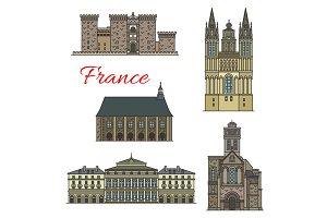 French travel landmark icons