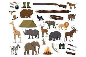 Hunting weapon, animals icons
