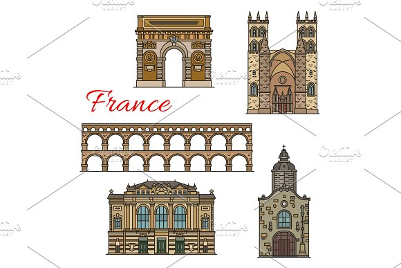 Tourist sights of France icons