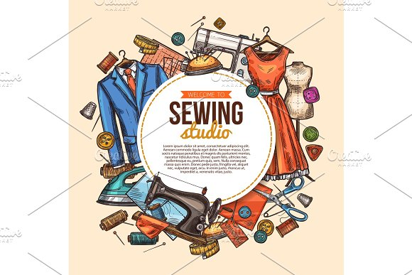 Sewing sketch poster for tailor shop