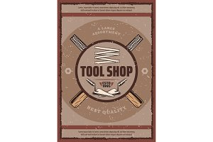 Tool shop banner with equipment