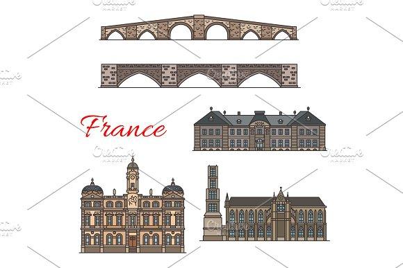 French travel landmarks line icons