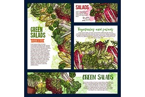 Salad leaf and vegetable banners