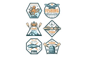 Fishing sport badges and icons