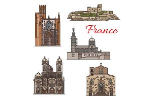Travel landmarks sights of France