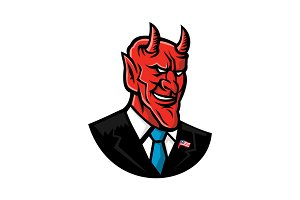 Devil American Businessman Mascot