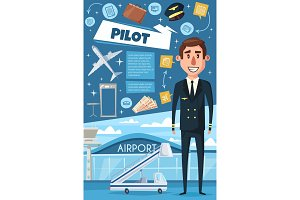 Airline, pilot of airplane, airport