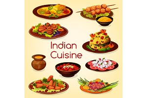 Indian cuisine with meat dishes