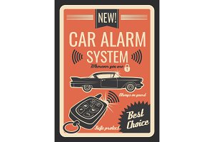 Car alarm system with key and lock