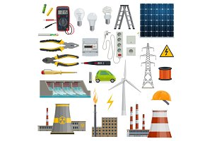 Electricity, energy and power icons