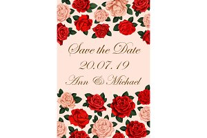 Save the Date rose wedding flyer
