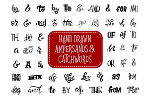Ampersand and catchword lettering