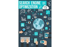 SEO optimization banner. Web design