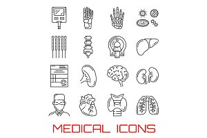 Medical icons with organs and doctor