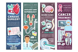 Medical clinic banners with doctors
