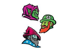 Goblin Leprecahun and Wizard Mascot