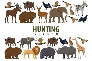 Hunting banner with animals