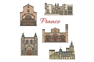 French travel landmarks, thin line