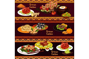 Korean cuisine banners with food