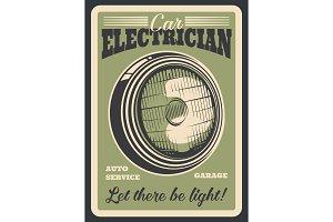 Car auto service, headlight