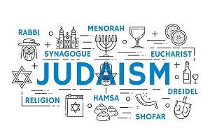 Judaism religion symbols, thin line
