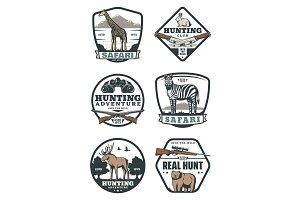 Hunting sport badges, safari