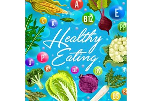 Healthy poster with vitamins