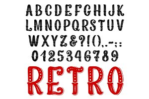 Retro decorative font letters