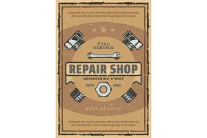 Car repair and garage service poster