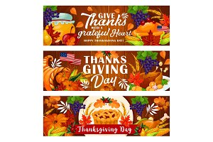 Thanksgiving Day holiday banners