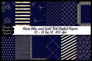 Navy Blue & Gold Foil Digital Papers