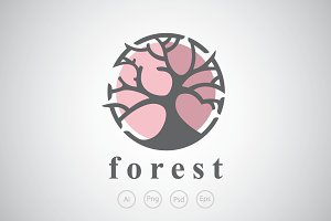 Circular Tree Logo Template