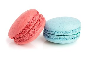 blue and red macaroon isolated on