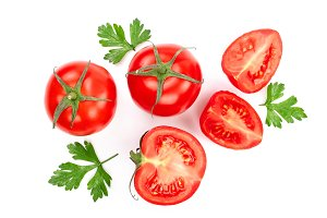 tomatoes with parsley leaves