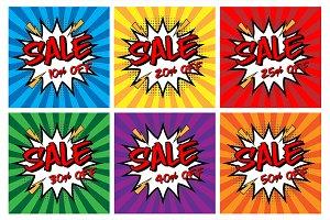 """Comic Speech Bubble  """"Sale Off"""" Text"""