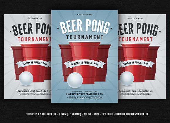 Beer Pong Red Cup Flyer