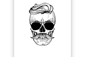 Skull with hairstyle