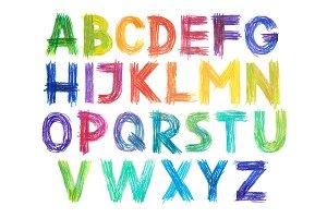 Colored pencils alphabet font type