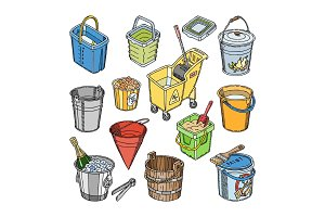 Bucket vector bucketful or wooden