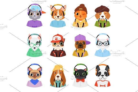 Animal in headphones vector