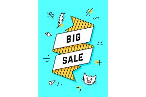 Big Sale. Vintage ribbon banner