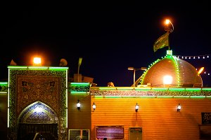 Night view to House of Ali Mosque in