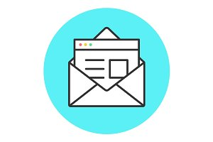 Icon of new open mail envelope